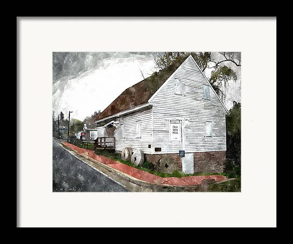 2d Framed Print featuring the photograph Wye Mill - Water Color Effect by Brian Wallace