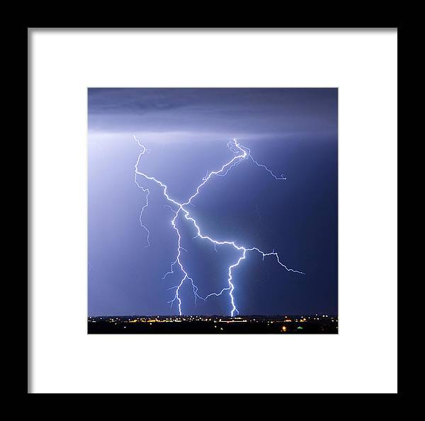 City Framed Print featuring the photograph X Lightning Bolt In The Sky by James BO Insogna