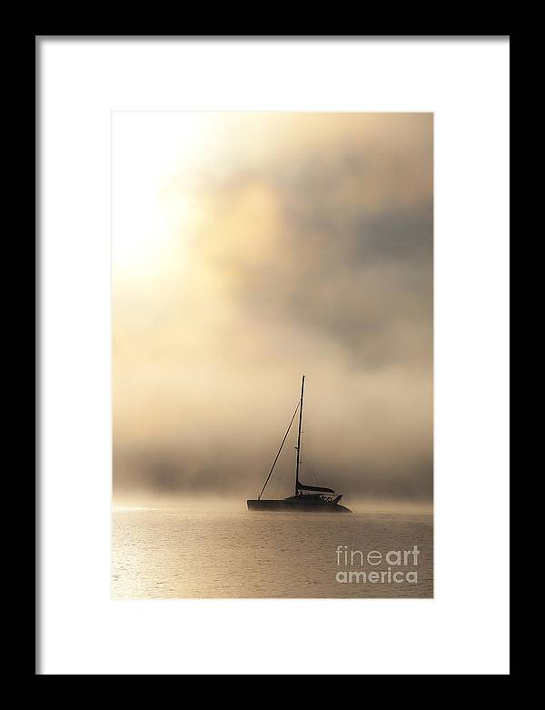 Mist Framed Print featuring the photograph Yacht in mist by Sheila Smart Fine Art Photography