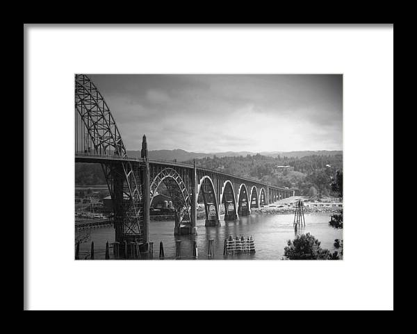 Yaquina Framed Print featuring the photograph Yaquina Bay Bridge Oregon B and W by Joyce Dickens