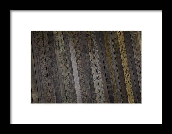 Yard Framed Print featuring the painting Yardsticks - Aged 18 Inch Closer 1 by Kurt Olson
