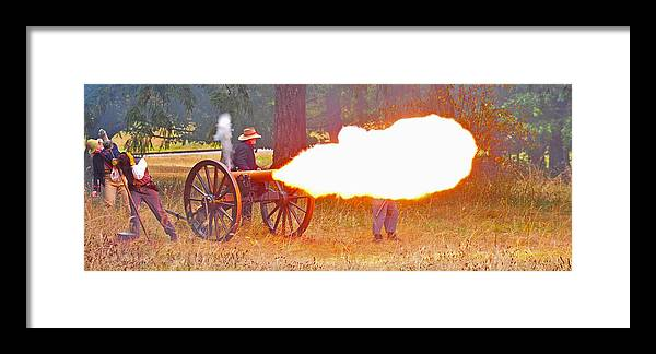 American Framed Print featuring the photograph Yellow Cannon Flames by Jim Boardman