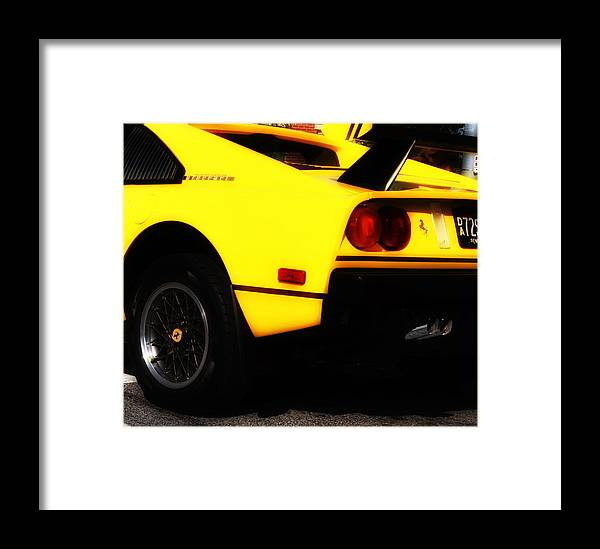 Yellow Ferrari Framed Print featuring the photograph Yellow Ferrari by Bill Cannon