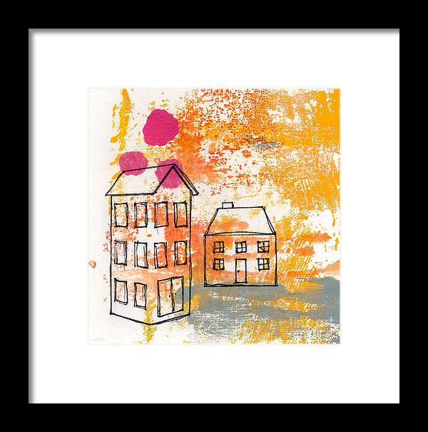 Abstract Framed Print featuring the painting Yellow House by Linda Woods