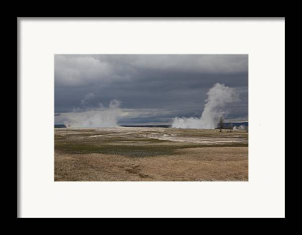 Geyser Framed Print featuring the photograph Yellowstone Geysers2 by Charles Warren