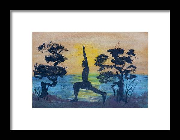 Yoga High Lunge Pose Framed Print featuring the painting Yoga High Lunge Pose by Donna Walsh