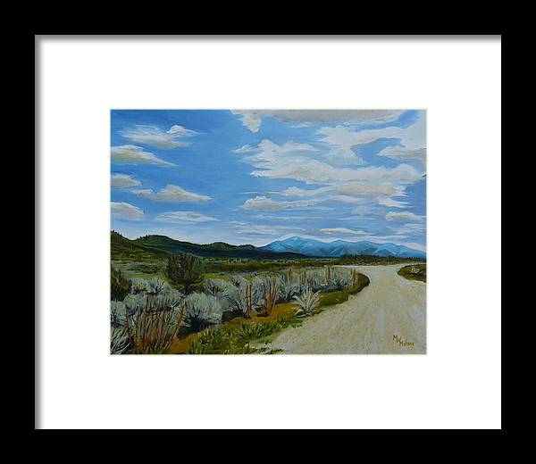 New Mexico Landscape Framed Print featuring the painting You Take The High Road.... by Mark Malone