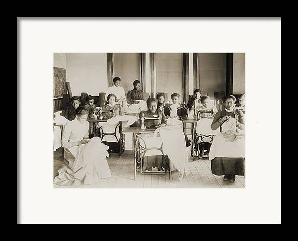 History Framed Print featuring the photograph Young African American Women Sewing by Everett