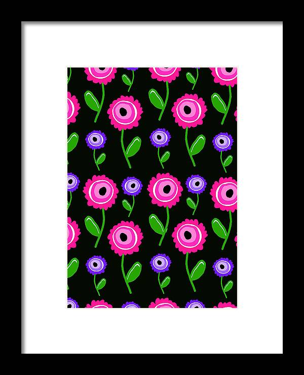 Young Florals (digital) By Louisa Knight (contemporary Artist) Framed Print featuring the digital art Young Florals by Louisa Knight