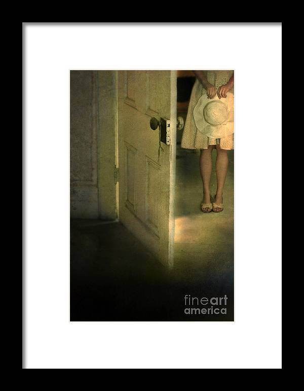 Woman Framed Print featuring the photograph Young Lady By Open Door by Jill Battaglia
