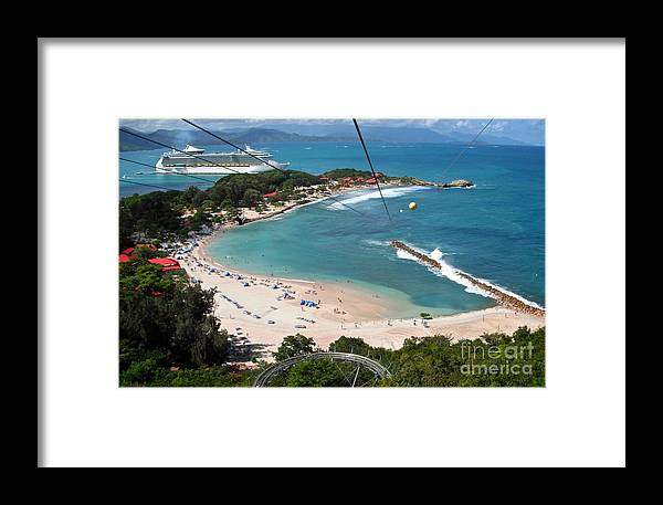 Zip Line Framed Print featuring the photograph Zip Line In Labadee by Carol Bradley