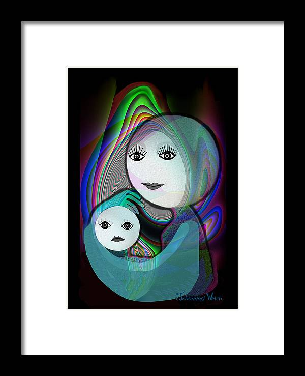 Mother And Child Framed Print featuring the painting 044 - Full Moon Mother And Child  by Irmgard Schoendorf Welch