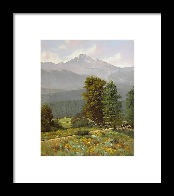 Landscape Framed Print featuring the painting 060812-1418 As Carefree As The Flowers In The Fields by Kenneth Shanika