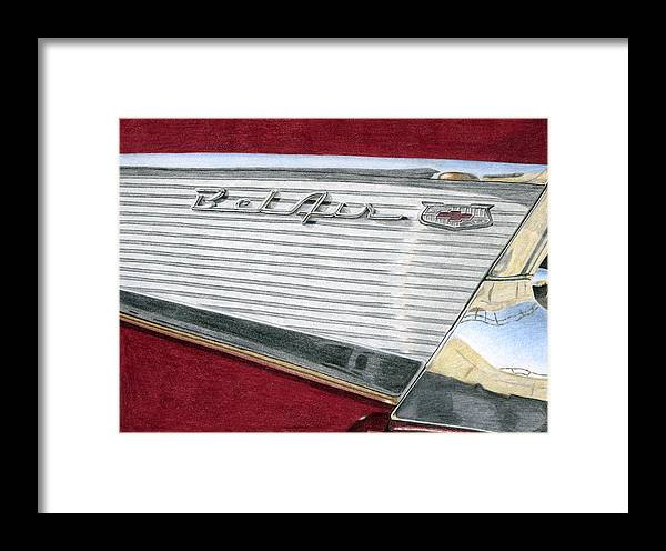 Classic Framed Print featuring the drawing 1957 Chevrolet Bel Air Convertible by Rob De Vries