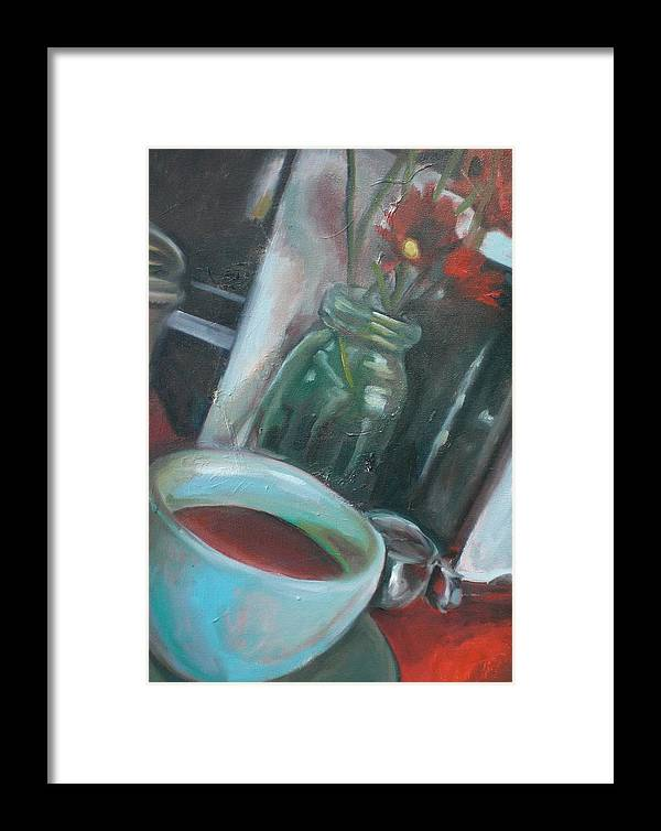 Diner Framed Print featuring the painting A Cup Of Joe by Aleksandra Buha