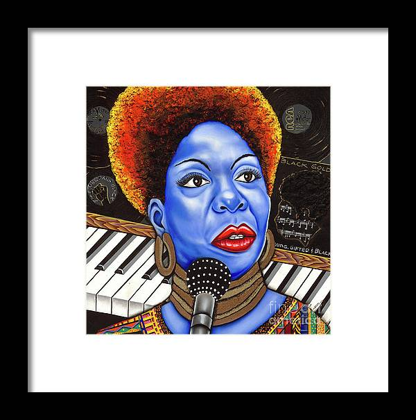 Blue Painting Framed Print featuring the painting A Part Of Nina Simone by Nannette Harris
