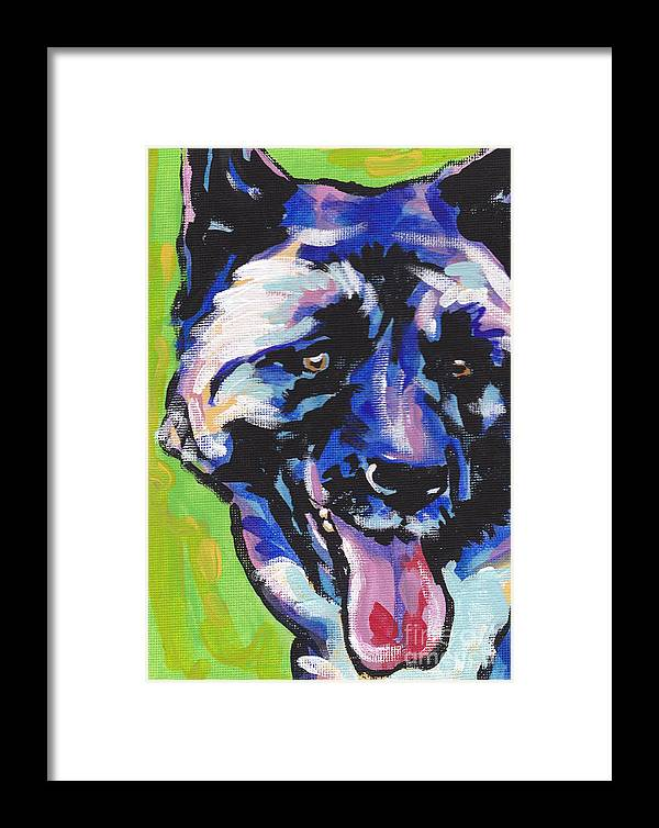 Akita Framed Print featuring the painting Akita Luv by Lea S