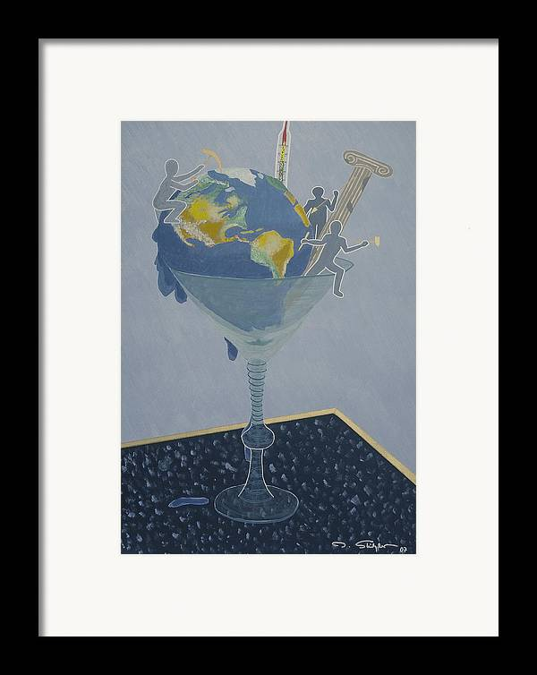 Earth Framed Print featuring the painting ... And Who Will Pay The Bill by Ingrid Stiehler