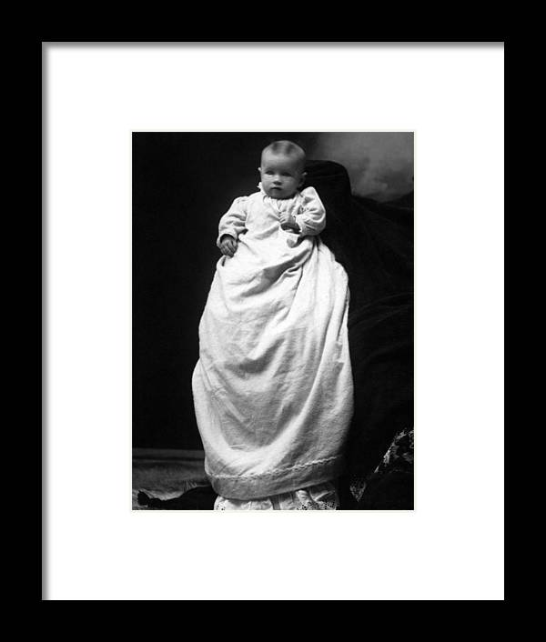 Baby Framed Print featuring the photograph Baby In Long Dress 1903 Black White 1900s by Mark Goebel