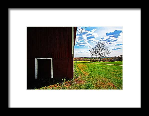 Red Framed Print featuring the photograph Barn Corner by Ty Helbach