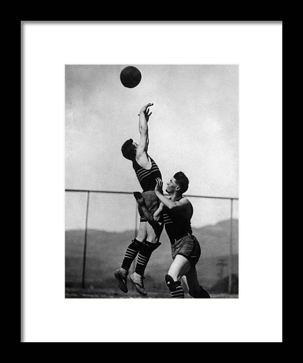 Boy Framed Print featuring the photograph Boy Shooting Basketball 1910s Black White Ball by Mark Goebel