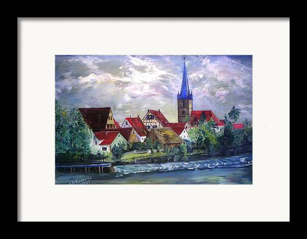 Landscape River Regnitz Church Erlangen Bruck Germany Framed Print featuring the painting Brucker Kirche by Alfred P Verhoeven