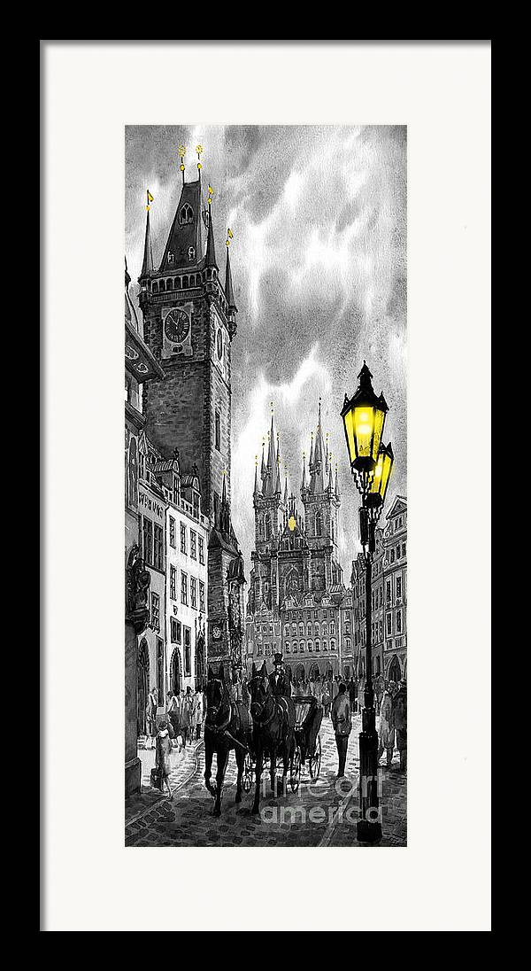 Geelee.watercolour Paper Framed Print featuring the painting Bw Prague Old Town Squere by Yuriy Shevchuk