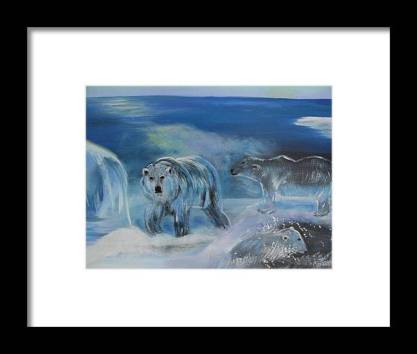 Water Framed Print featuring the painting Carved Ice Polar Bears by Aleta Parks