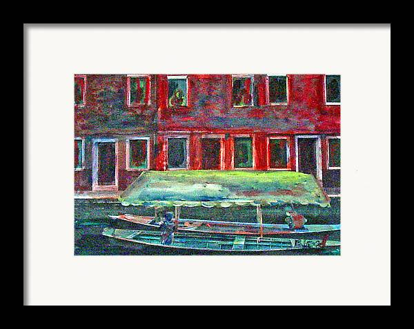 River Framed Print featuring the painting China Village by Peggy Blood