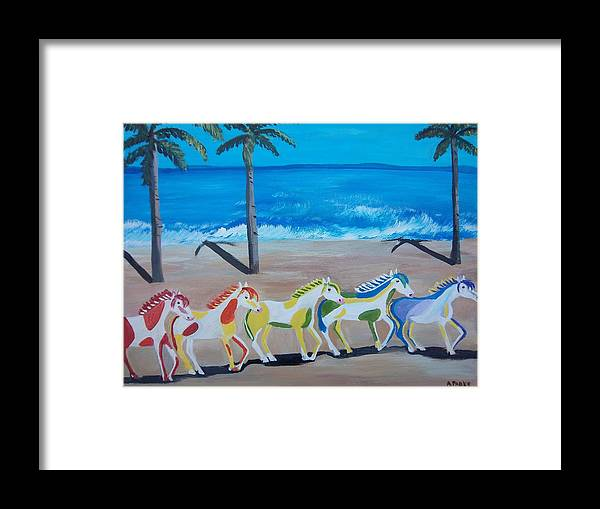 Horses Framed Print featuring the painting Colored Art Horses by Aleta Parks