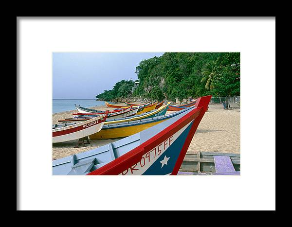 Aquadilla Framed Print featuring the photograph Colorful Fishing Boats On Crashboat Beach by George Oze