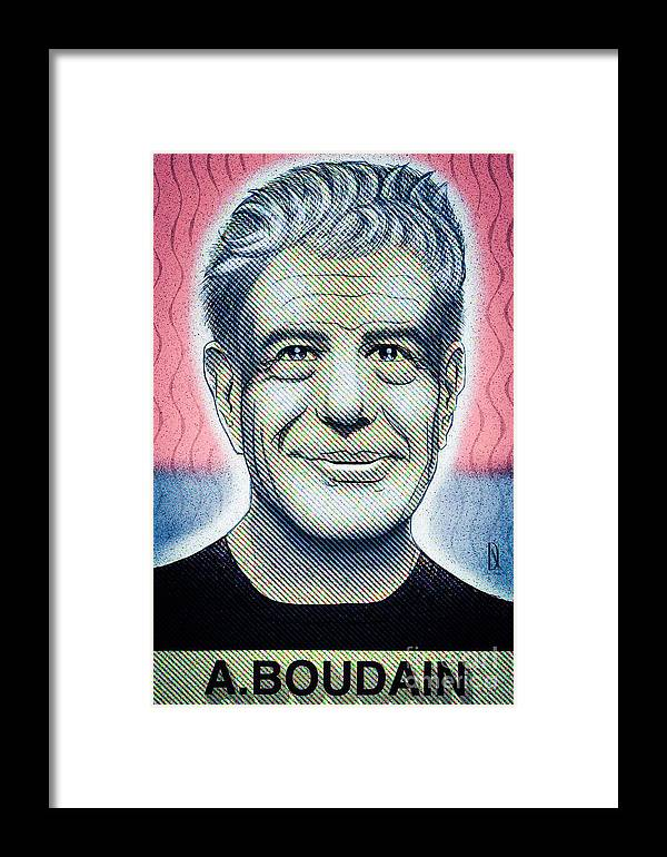 Anthonyboudain Framed Print featuring the digital art Commemoration Of Anthony Boudain by Don Nitram aka Martin G Macias