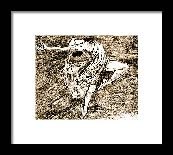 Sketch Framed Print featuring the drawing Dancer by Dan Earle