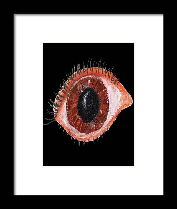 Eye Brown Black Framed Print featuring the painting Eye by Bethwyn Mills