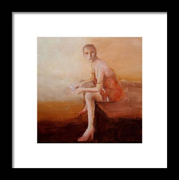 Portrait Framed Print featuring the painting Female Feel-male Gaze by Jea DeVoe