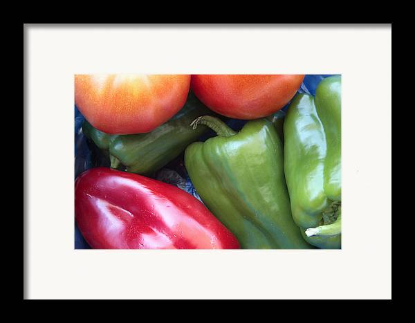 Red Framed Print featuring the photograph Fresh Peppers And Tomatoes by Steve Outram
