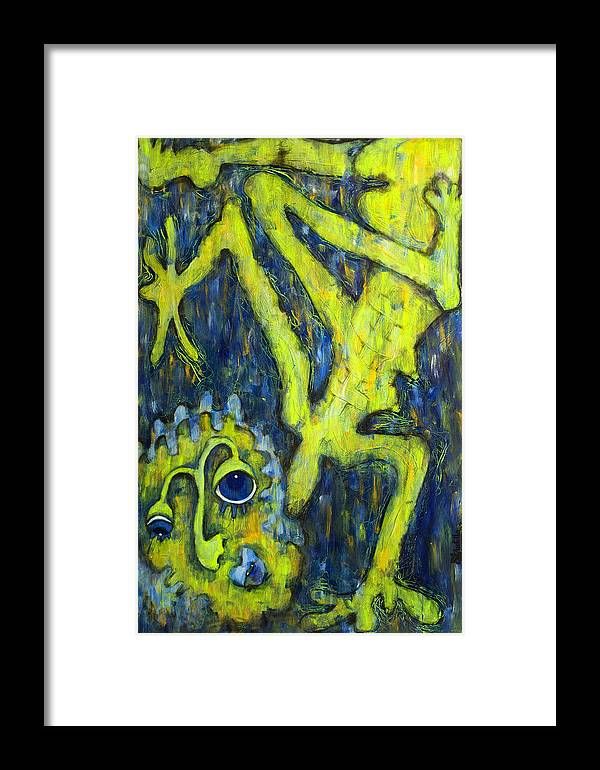 Frog Framed Print featuring the painting Frog Under The Rain by Claudia Padilla