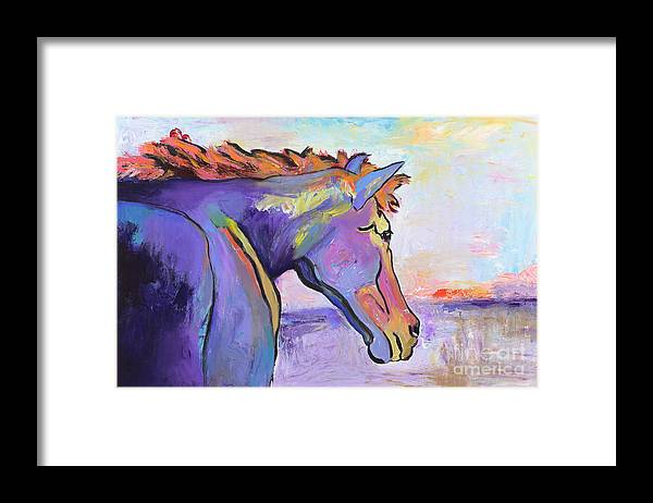 Purple Horse Framed Print featuring the painting Frosty Morning by Pat Saunders-White