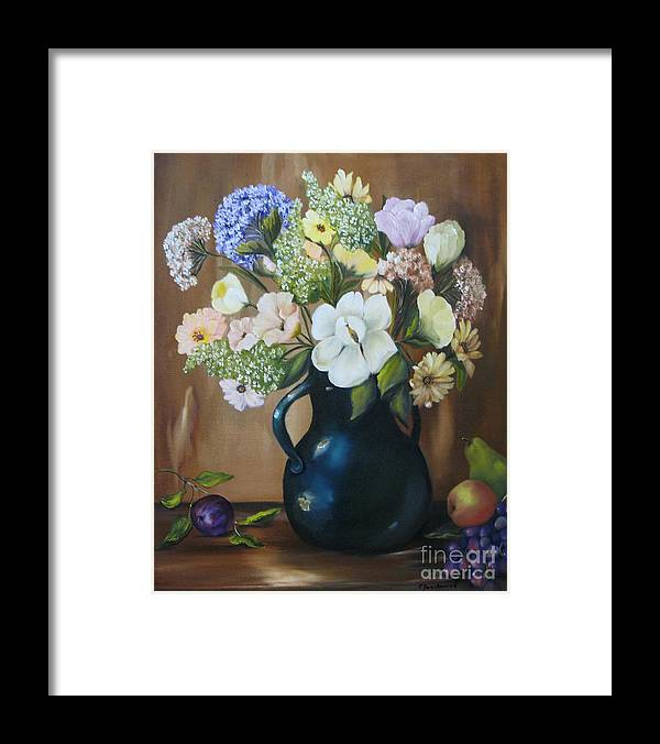 Bouquet Framed Print featuring the painting Garden Bouquet by Carol Sweetwood