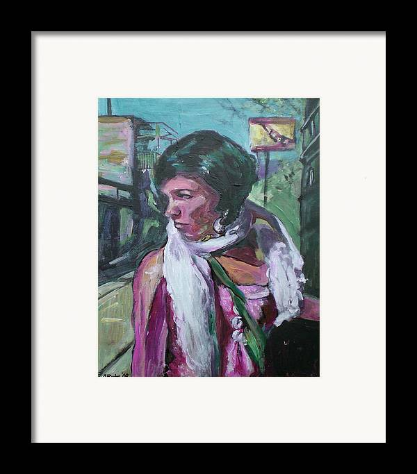 Framed Print featuring the painting Girl With White Shawl by Aleksandra Buha