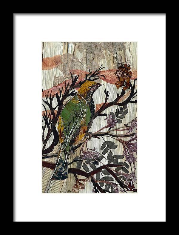 Green Bird Framed Print featuring the mixed media Green-yellow Bird by Basant Soni
