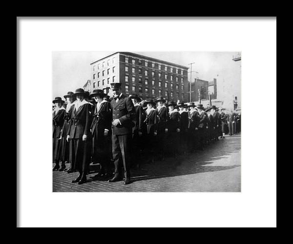 Group Framed Print featuring the photograph Group Women Females In Navy Circa 1918 Black by Mark Goebel