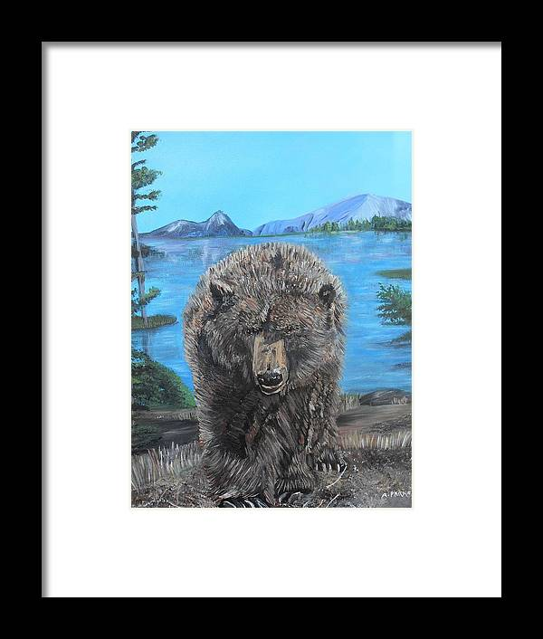 Grizzley Bear Framed Print featuring the painting Hello Grizzley Bear by Aleta Parks
