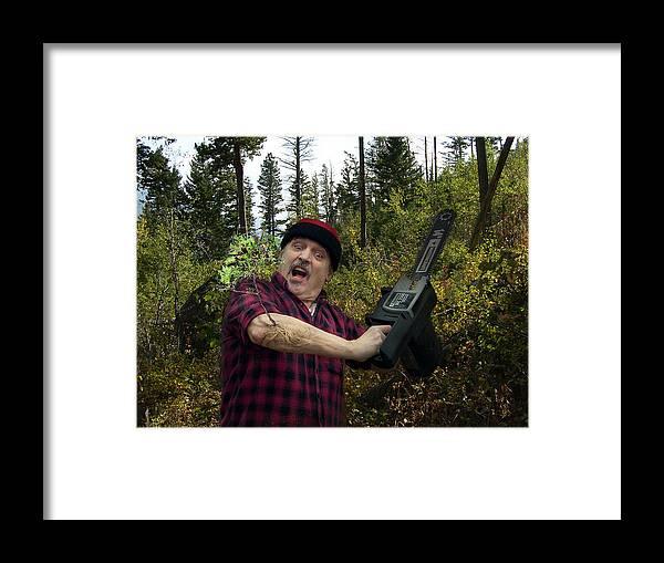 Surrealism Fantastic+realism Cloning Parasites Lumberjack Chainsaw Selfportrait Framed Print featuring the digital art I am a Lumberjack I am OK by Otto Rapp
