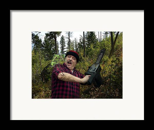 Surrealism Fantastic+realism Cloning Parasites Lumberjack Chainsaw Selfportrait Framed Print featuring the digital art I Am A Lumberjack I Am Ok by Otto Rapp
