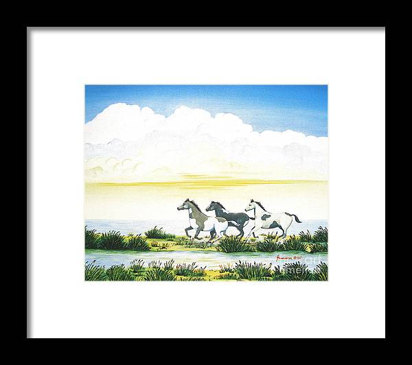 Chincoteague Framed Print featuring the painting Indian Ponies by Jerome Stumphauzer