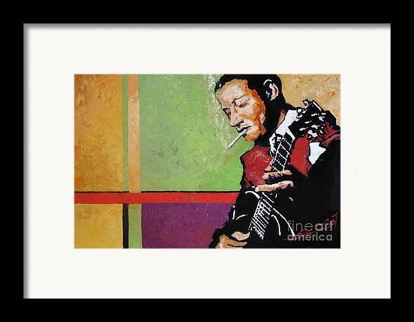 Jazz Framed Print featuring the painting Jazz Guitarist by Yuriy Shevchuk