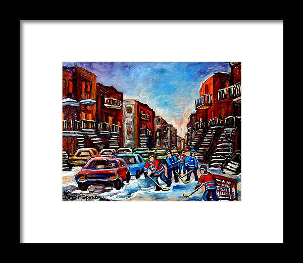Montreal Framed Print featuring the painting Late Afternoon Street Hockey by Carole Spandau