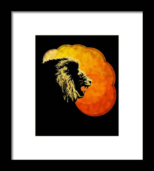 Lion Illustration Framed Print featuring the painting Lion Illustration Print Silhouette Print Night Predator by Sassan Filsoof