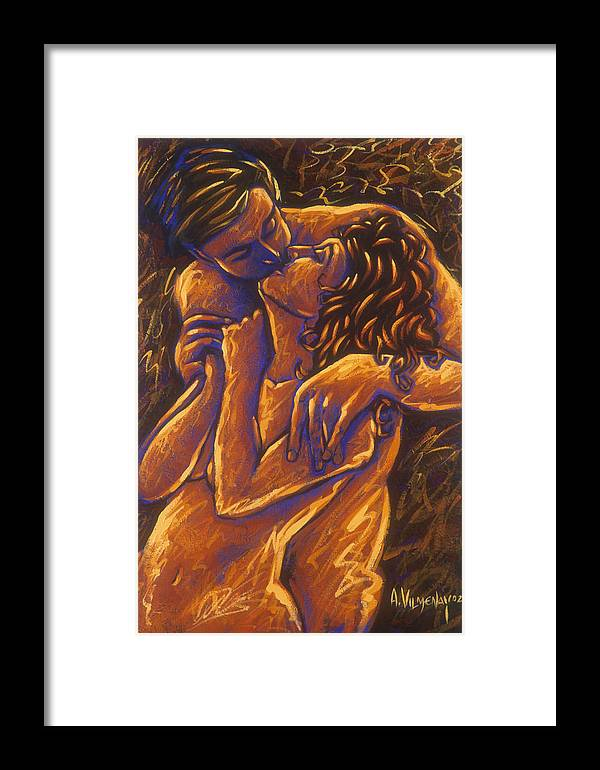 Acrylic Framed Print featuring the painting Los Amantes The Lovers by Arturo Vilmenay